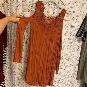 Burnt Orange Detailed Long sleeve Dress